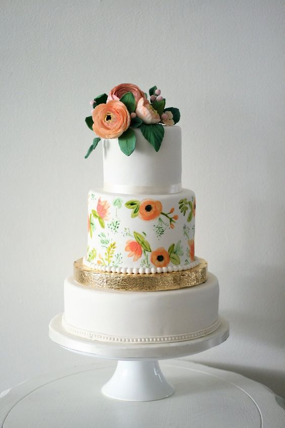 Featured Cake: The Cocoa Cakery; Adorable orange flower printed wedding cake idea.