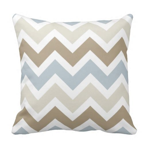 Smoky Blue Gray, Tan, and Brown Chevron Pattern Throw Pillows
