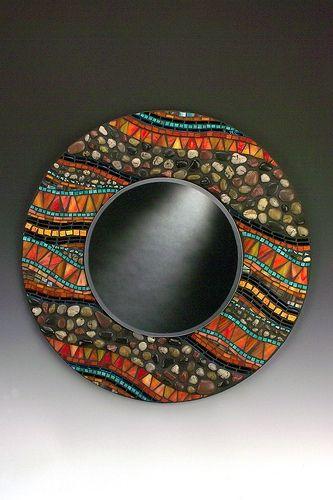 Orange and stone ~ Mosaic Mirror