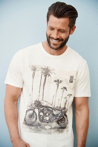 Buy White Motorbike T-Shirt from the Next UK online shop