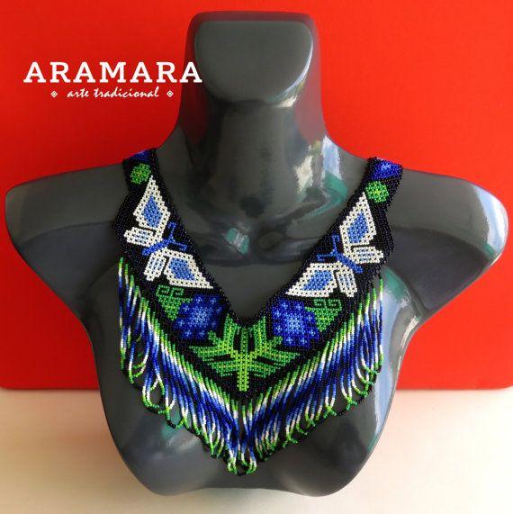 Huichol butterfly necklace by Aramara on Etsy (www.etsy.com/uk/people/Aramara)
