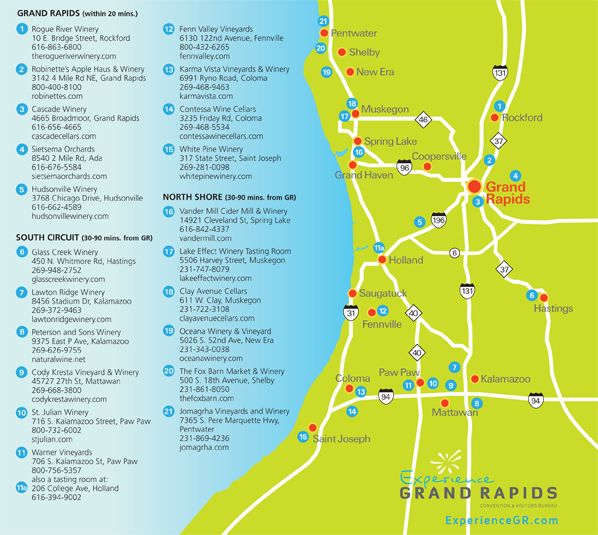 wine tour map wineries near grand rapids