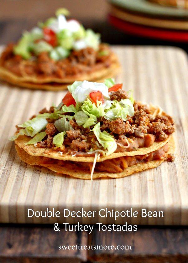 Decker Chipotle Bean & Turkey Tostadas: Tacos Recipes, Chipotle Beans ...