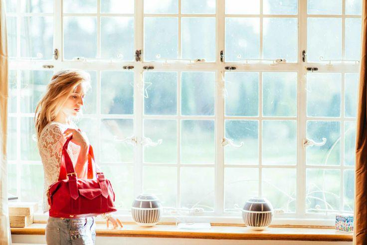 Red Leather Shoulder Handbag www.bettyandbetts.com