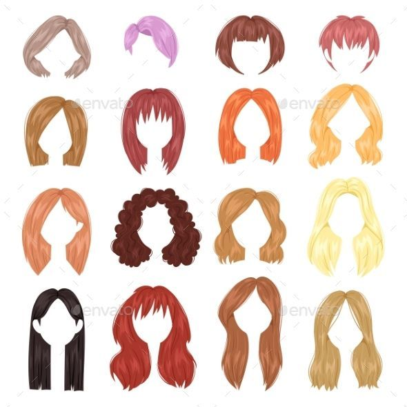 Hairstyle Woman Vector Female Haircut On Short Or Long Hair And Wigs Illustration Hairdressing Or Haircutting Wi Womens Haircuts Hair Illustration Cartoon Hair