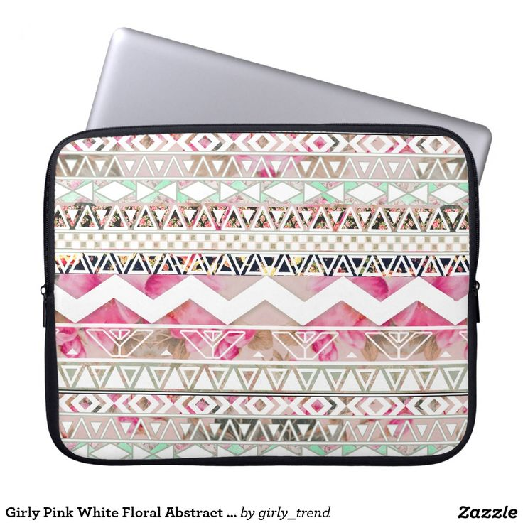 Girly Pink White Floral Abstract Aztec Pattern Laptop Sleeve