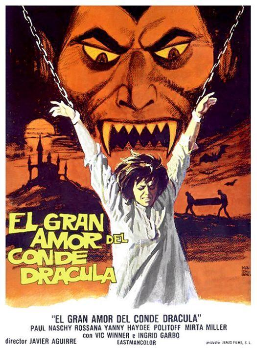 El gran amor del conde Drácula es una película EEUU dirigida por Javier Aguirre con Paul Naschy, Haydée Politoff, Rosanna Yanni, Ingrid Garbo - 1972