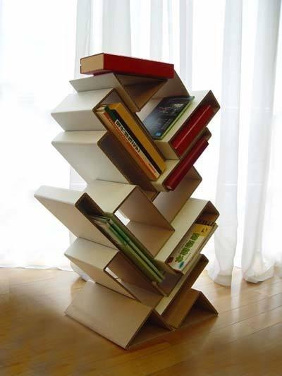 Cardboard bookshelves