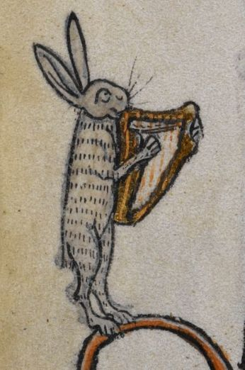 Happy bunny playing the harp (@BLMedieval, Stowe 17, 14th c.)