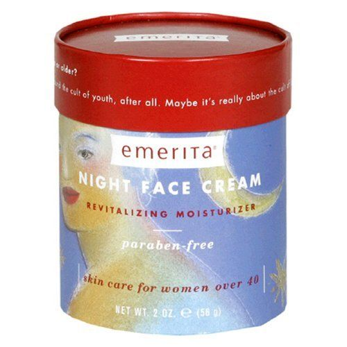 Emerita Night Face Cream, 2-Ounce Jar by Emerita. $19.95. Protects against free radicals. Revitalizing and moisturizing night cream for women over 40. Includes safflower seed oil to benefit mature faces. Made with natural botanicals. Multi-peptide formula reduces fine lines and wrinkles. Amazon.com                The Emerita Night Face Cream deeply penetrates and revitalize your skin while you sleep. Its multi-peptide deep moisture formula has been shown to reduc...