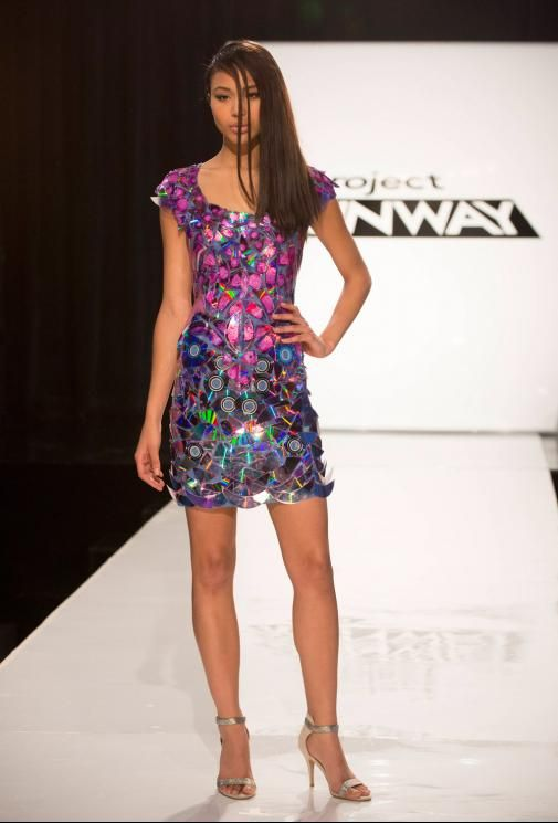 Project Runway Season 13 Rate the Runway Mitchell Perry Episode 2 Look; dress made from CDs!!
