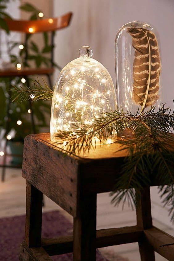 Fairy lights under a cloche = instant easy holiday decoration. Image from Vintage Blackboard.