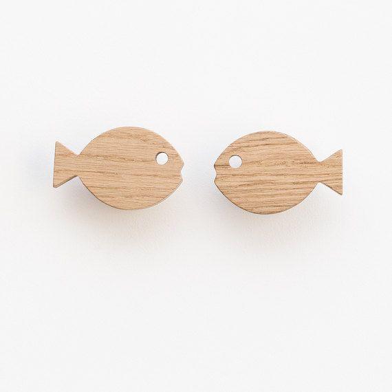 Fish wall hook, hooks for nursery, wooden wall hooks, oak wall hooks