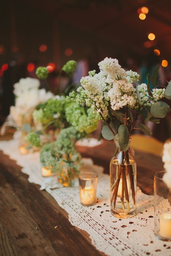 April Wedding Centerpiece Arrangements, Glass Candle Decor For April Wedding,  Natural Table Decor For