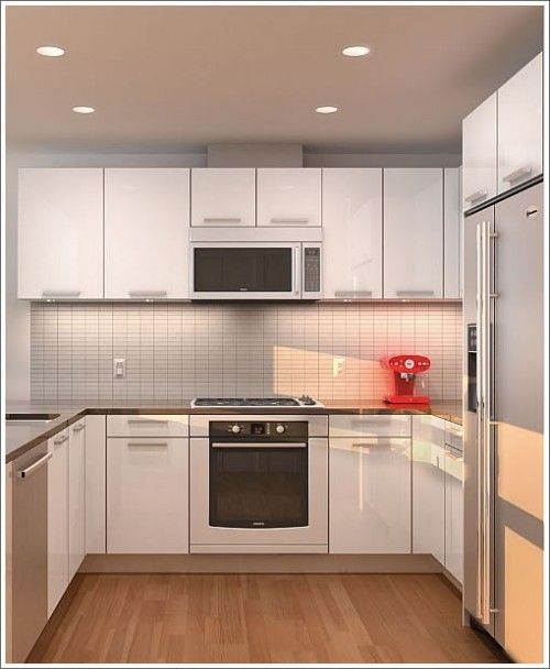 flooring and countertops in small modern kitchen