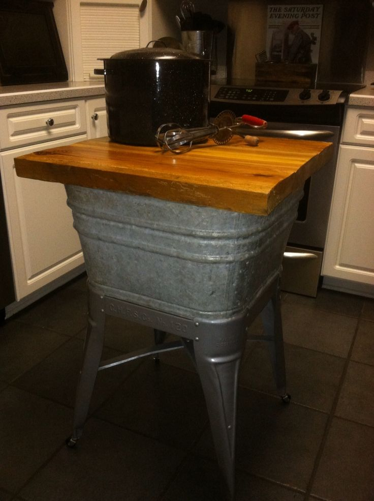 Old galvanized wash tub turned repurposed into kitchen island. I've used mine as…