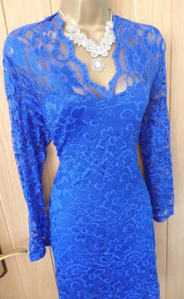 Women's JANE NORMAN Electric blue full lace bodycon DRESS UK 16 ( US 12 ) #JaneNorman #StretchBodycon #Party