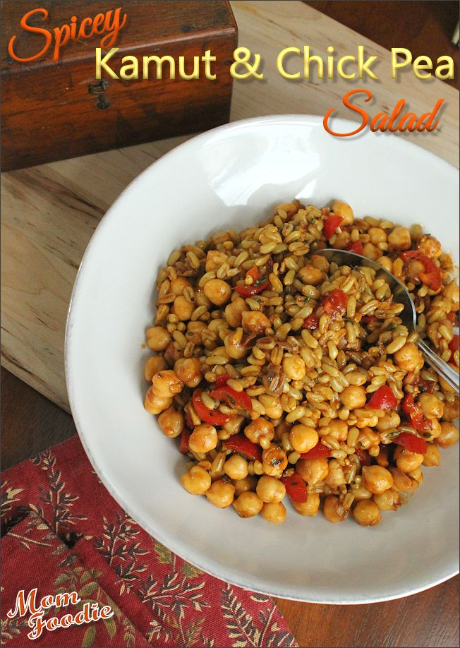 Spiced Kamut & Chick Pea Salad (workout fuel, with anti-inflammatory cancer fighting spices)