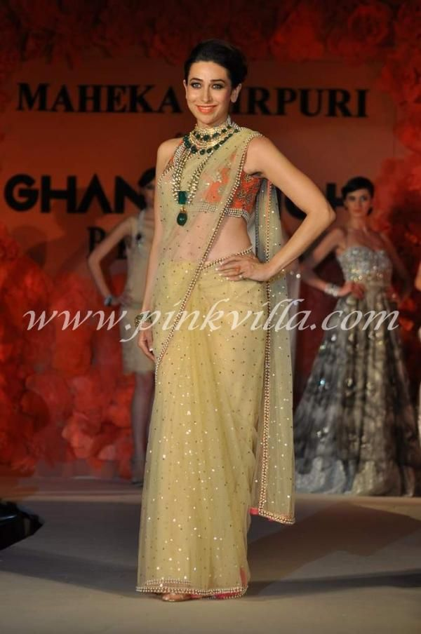 Karisma Kapoor walks the ramp for Maheka Mirpuri | For more inspiration visit www.shaadibelles.com