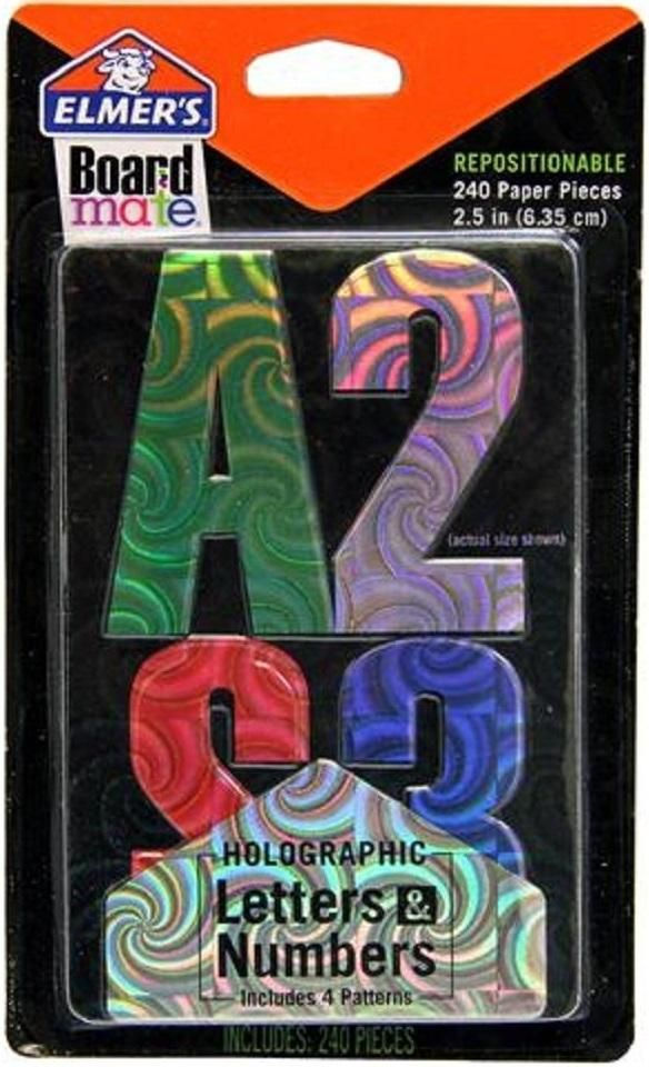 "Elmer's E3070 Repositionable Holographic Paper Letters & Numbers, 2.5"", 240 Pieces"