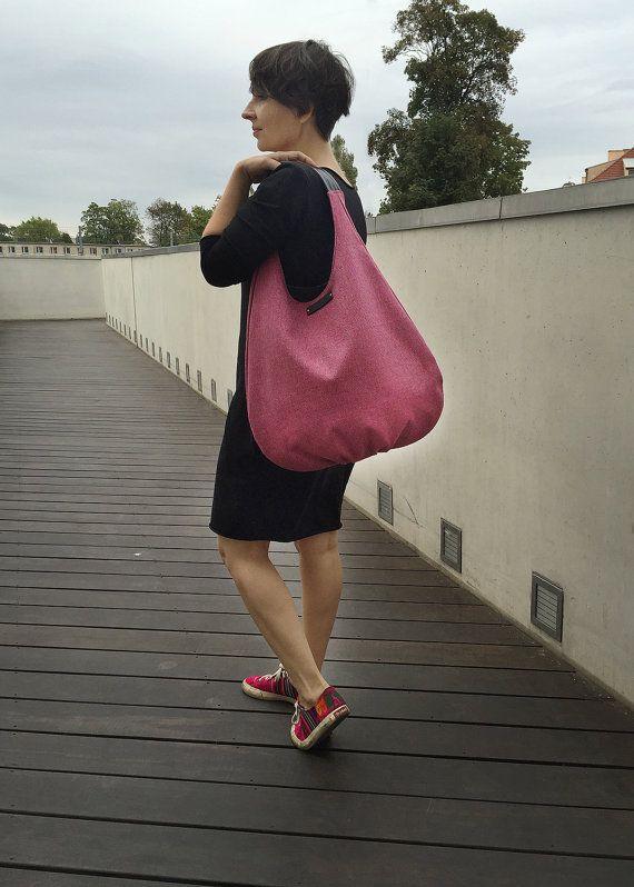 Pink packable hobo bag raspberry shoulder bag  by bandabag on Etsy