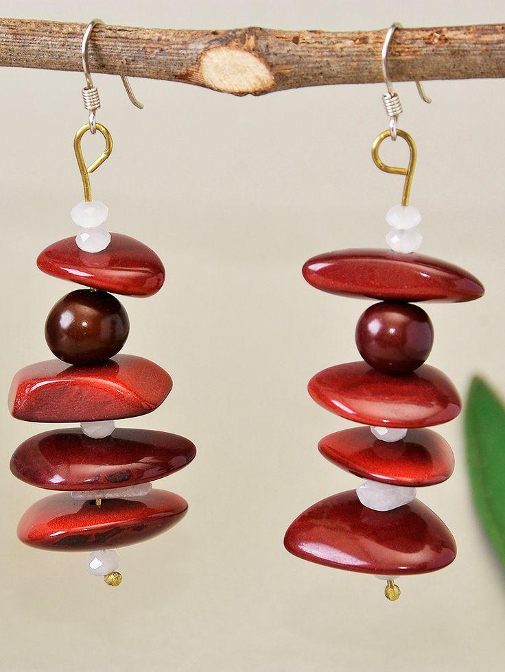 Garnet drop tagua nut earrings with silver hook, long garnet vegetable ivory earrings, dangle long earrings with brown acai beads by ColorLatinoJewelry on Etsy