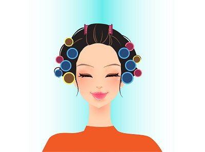 Beauty Model in Hair Curlers Having Makeup in a by DuttaartShop