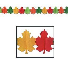 Slingers Herfstblad -  Een papieren slinger in de vorm van herfst bladeren. Lengte: 22.5 x 360cm. | www.feestartikelen.nl