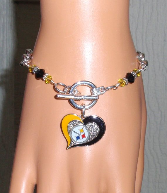 Pittsburgh Steelers Bracelet Bling Black And Gold Crystal Pro Football Accessory Fanwear Sports