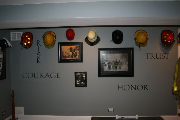 Basement Game Room, Firefighter-themed [for F/F Husband :)] game room, Living Rooms Design