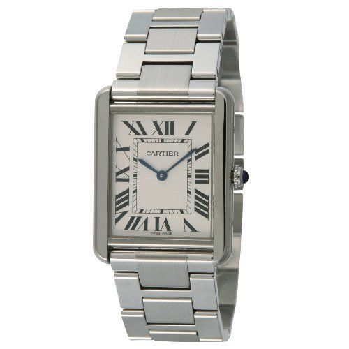 Cartier Men's W5200014 Tank Solo Large Watch Cartier. $2444.36. Pale silvered opaline dial with sword-shaped blue hands and black roman numeral hour markers, minute markers around the inner ring. Stainless steel case with a stainless steel bracelet. Water-resistant to 99 feet (30 M). Fixed stainless steel bezel. Scratch resistant sapphire crystal. Save 11%!