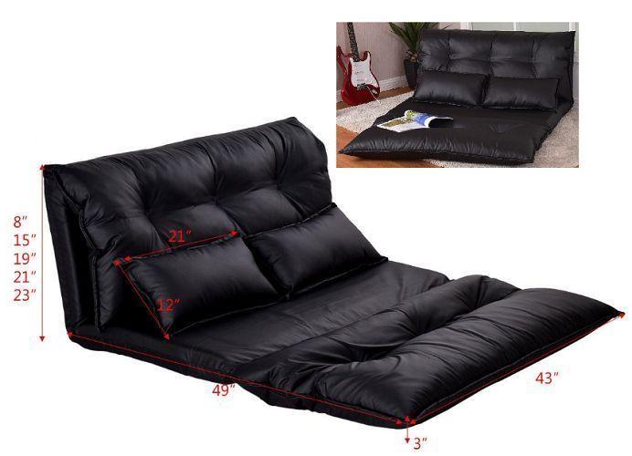 Sofa Sleeper Bed Convertible Black Lounge Folding PU Leather Adjustable Guest   #SofaSleeperBed #Modern