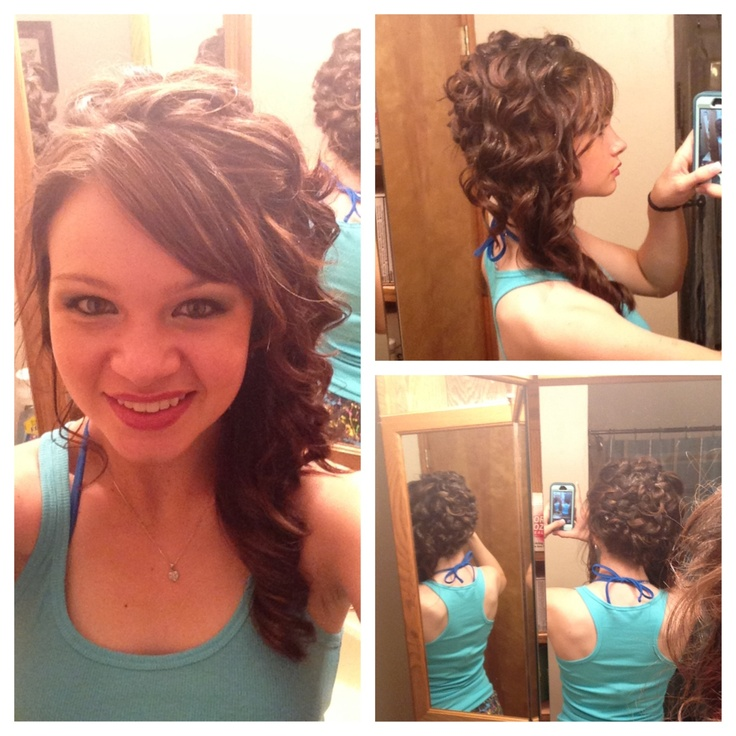 prom hair curled side