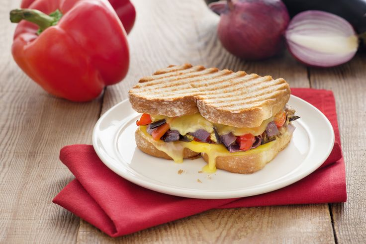 Roasted Vegetable and Provolone Panini - The perfect panini loaded with vegetables for an ideal healthy lunch.