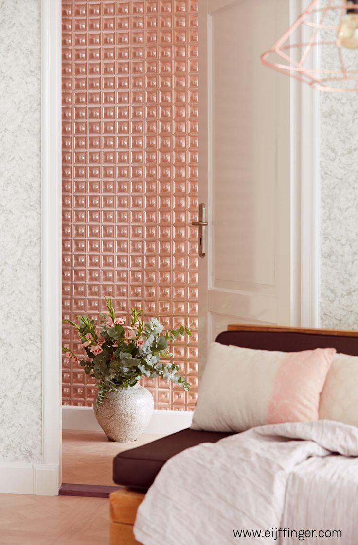 Precioso papel pintado moderno con efecto de  profundidad, color cobre - Villalba Interiorismo