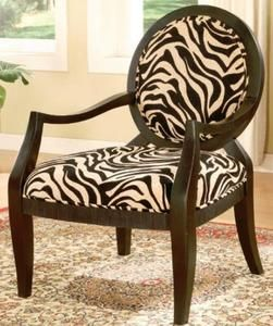 Accent Chair with Zebra Print & Black Finish