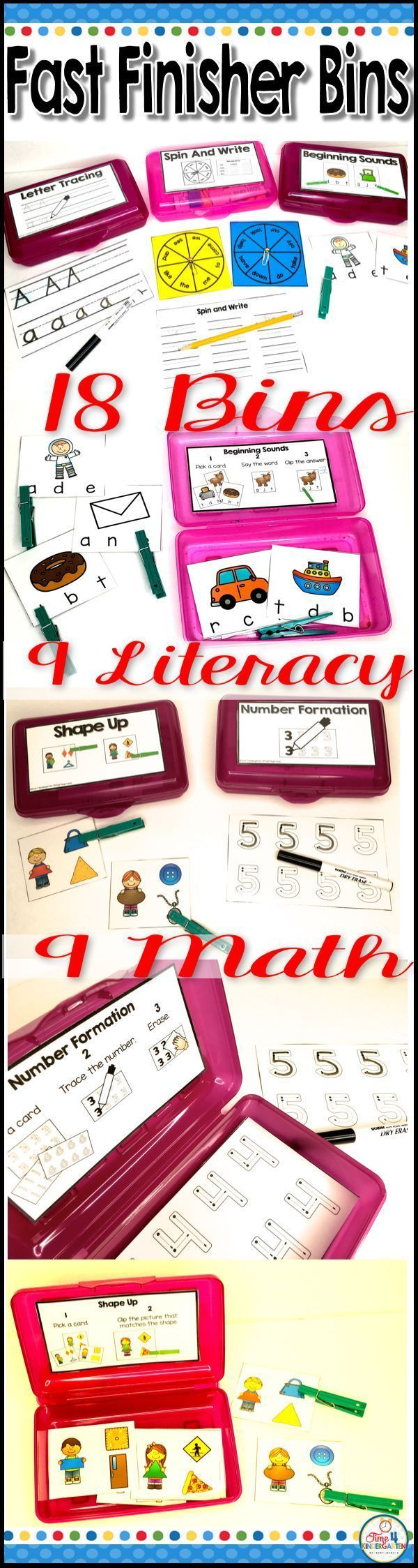 "Give your early finishers something to do that is fun and educational. These 18 Fast Finishers Bins are just what your classroom needs to keep the ""Teacher, I'm Done- now what do I do?"" from driving you crazy. This resource comes with 9 Literacy"