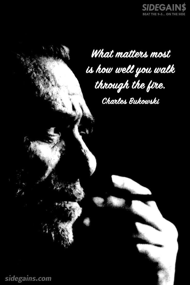Charles Bukowski Fire Quote Poet Novelist Short Story Writer Poster Photo Print