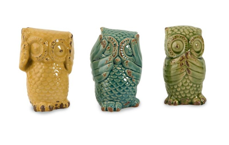 """Wise Owls - Set of 3 - The owls in this set of three ceramic statuary are full of wisdom, whimsy and charm. Makes a great gift! Material: 100% Ceramic. 3.75""""h x 3.75""""w x 6.5""""."""