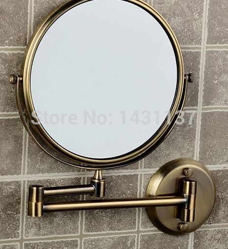 Gallery One Free shipping Double Side Bathroom Folding Mirror Antique bronze Wall Mounted Extend with Dual