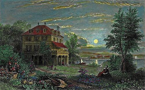 """Villa Diodati, residencia de Lord Byron, con Luna llena, escenario donde Mary Shelley soñó y dio inicio a la obra """"Frankenstein; o, el mo..."""
