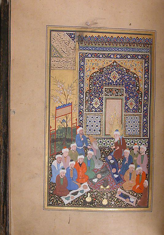 Bustan (Orchard) of Sa'di Mir 'Ali al-Husaini Author: Sa'di (1213/19–92) Object Name: Illustrated manuscript Date: dated A.H. 929/A.D. 1522–23 Geography: present-day Uzbekistan, Bukhara