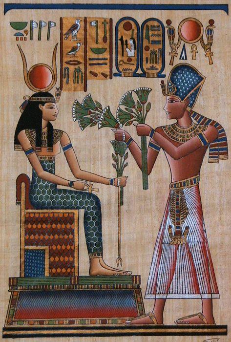 Egyptian Goddess Hathor and Pharaoh Ramses II