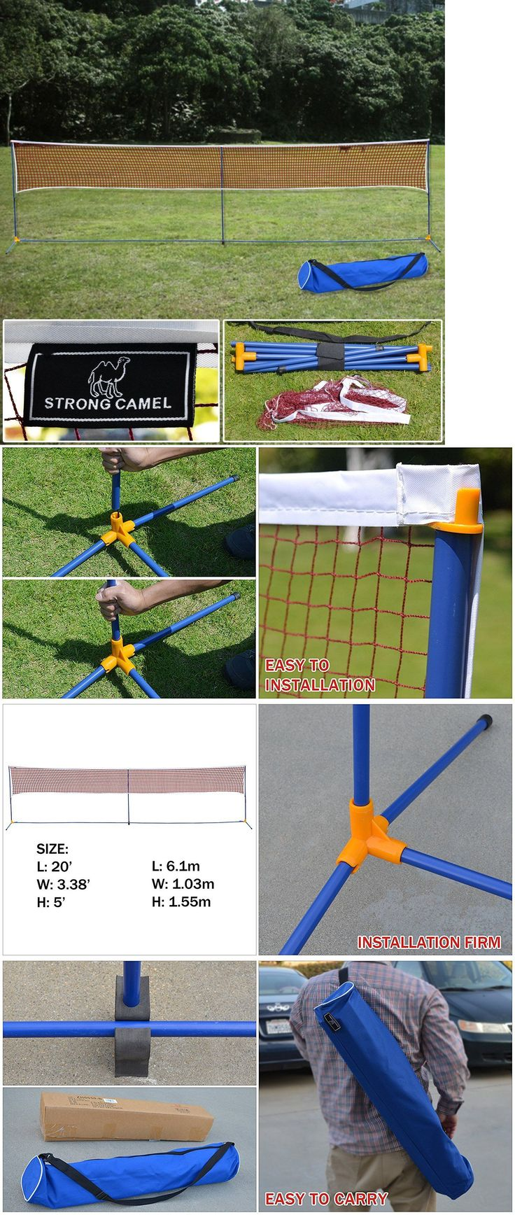 Badminton 106460: Portable 3-In-1Training Beach Volleyball Badminton Tennis Net Set With Carrying BUY IT NOW ONLY: $50.0