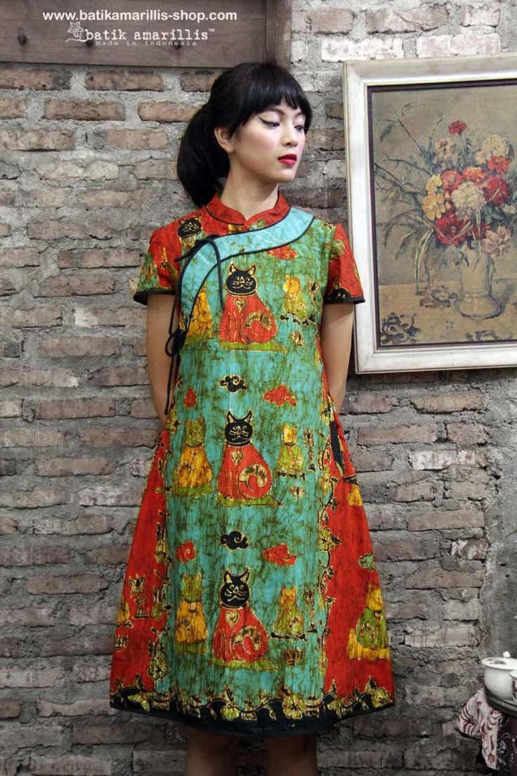 batik amarillis's joyluck dress in handrawn batik wonogiren cat series Ethnic inspired outfit to bring you Joy & Luck.. beautiful reinvention of classic Qipao with exquisite detailing such as color combos,handmade chinese frog button,fittingly beautiful & it provides the ideal combination of comfort & style