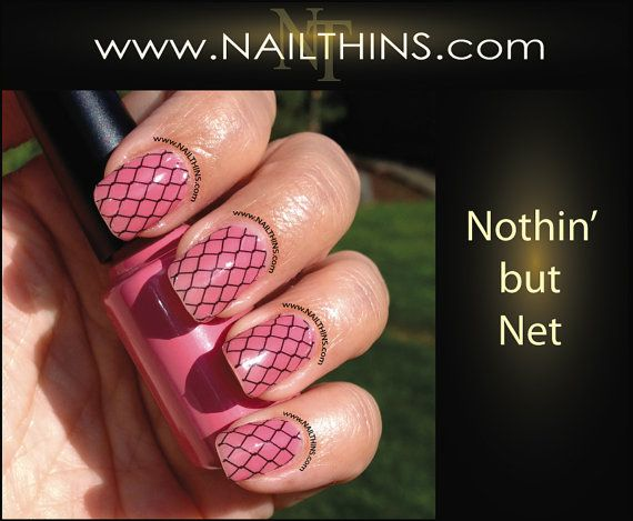 Fishnet Nail Decal Full Nail Wrap fish net design by by NAILTHINS, $5.50