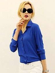 Women's Fashion Casual OL Pure Color Chiffon Long Sleeve Shirts