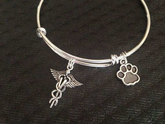 Veterinarian Adjustable Expandable Silver Plated Bangle Bracelet Sturdy Trendy Quality Animal Doctor Gift Paw Print Handmade
