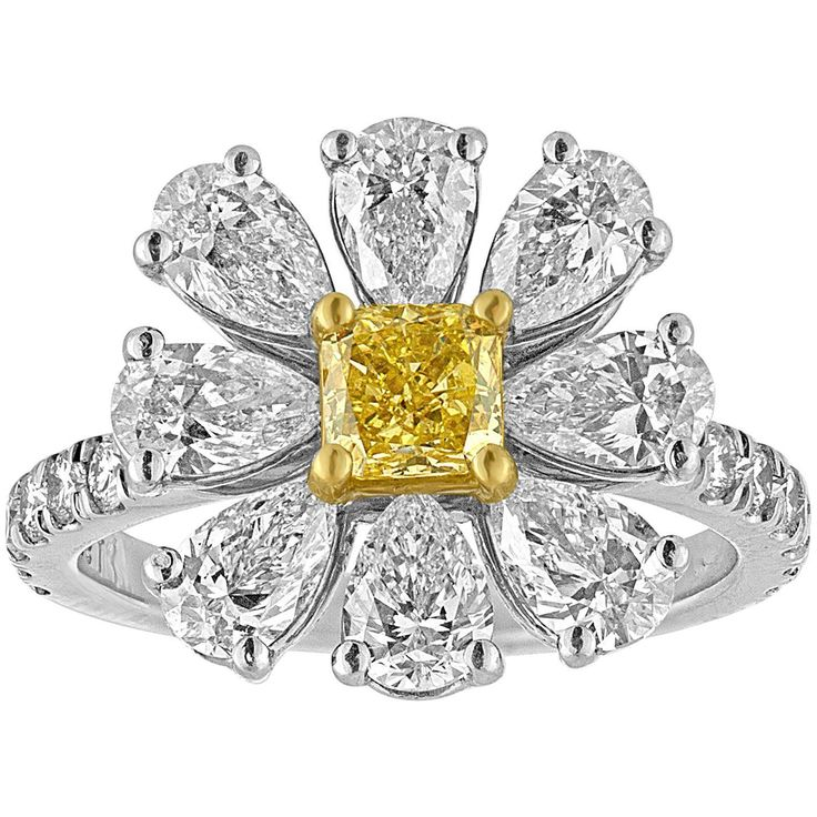 Fancy Yellow and White Diamonds Platinum Daisy Flower Ring | From a unique collection of vintage cluster rings at https://www.1stdibs.com/jewelry/rings/cluster-rings/