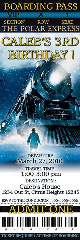 Polar Express Christmas train Custom personalized birthday party invitations. $13.50, via Etsy.